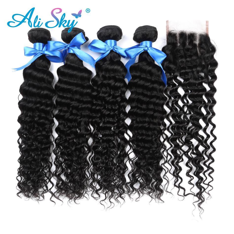 Ali Sky Hair Peruvian Deep Curly Hair 4 Bundles With Closure Non Remy Hair Lace Closure With Human Hair Bundles No shedding 1B#