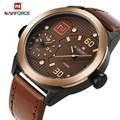Top Brand NAVIFORCE Multiple Time Zone Men's Quartz Army Military Sport Watch Genuine Leather Date Male Relogio Masculino Clock
