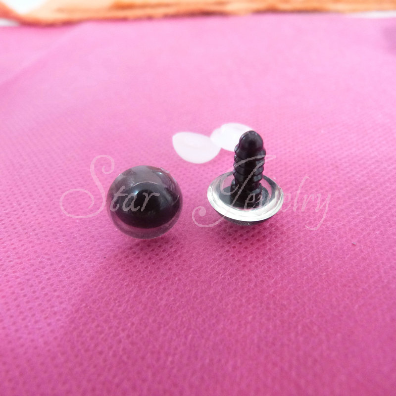 Clear color safety plastic toy cat eyes with white washer for plush doll accessories 10mm 12mm