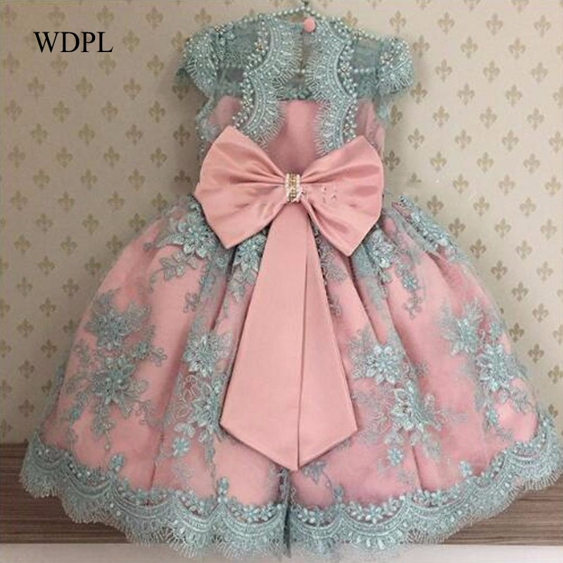 Princess Little   Girls   Party   Dresses   robe fille Applique Long Pink   Flower     Girl     Dresses   Kids Pageant Gowns Lace Sleeveless Bow