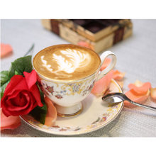 Diamond Embroidery Coffee Rose Diy Diamond Painting Cross Stitch Icons Rhinestone Diamond Mosaic Indoor Decoration Flowers Full(China)