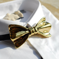Novelty Men Women luxury Formal Party Wedding Bow Tie Necktie Gift Golden Color