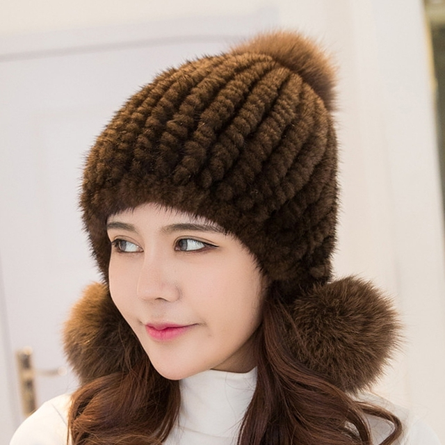 4f524305b71 2017 new fashion Russia Women causa winter knitted mink fur hat beanie ear  protector caps fox fur pom pom high quality