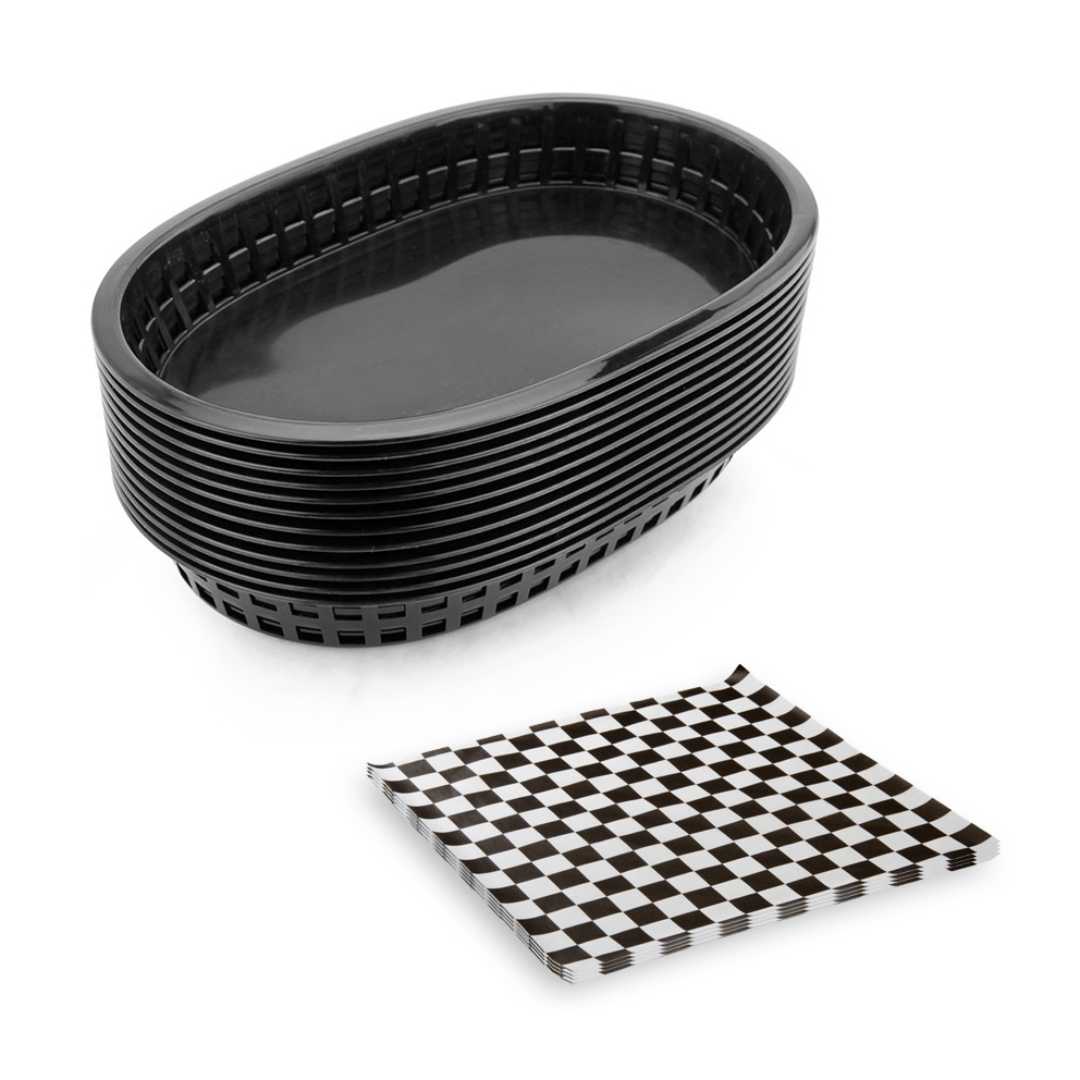 12pcs Fast Food Baskets With 24pcs Checkered Wax Paper Set