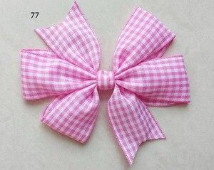 Image 4 - כובעי קריקטורה פס V שבשבת נסיכת אופי Hairbows משובץ משבצות שיער קשתות קליפים שיער קשרי אביזרי 50pcs HD3355