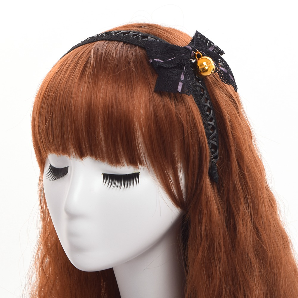 1pc Lolita Girls Black Lace Bowknot Bell Hair Band Gothic Punk Headwear