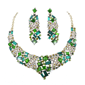 bridal statement necklace sets for bride wedding necklace earrings set emerald cubic rhinestone crystal jewelry set for party