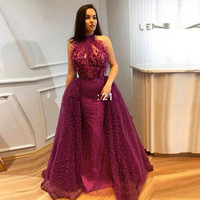 Purple Muslim Evening Dresses 2018 Mermaid Halter Flowers Beaded See Through Islamic Dubai Saudi Arabic Long Evening Gown