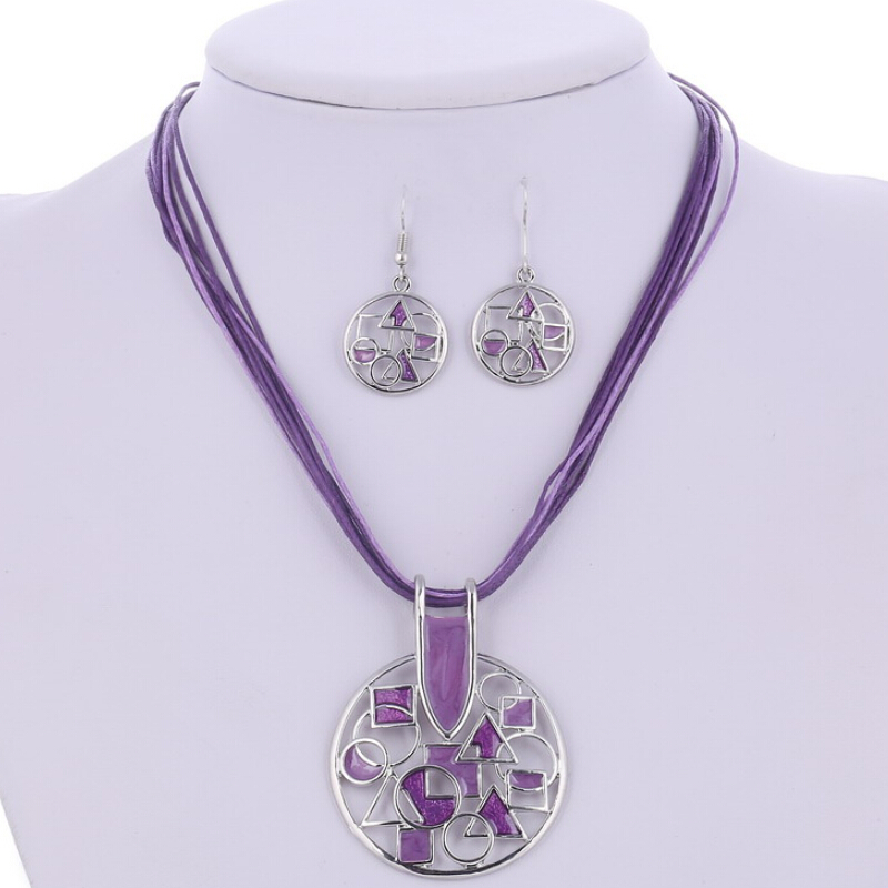 Silver Plated Hollow Pendant Jewelry Set 4 Colors Wedding Jewelry Sets Multilayers Wax Rope Choker Necklace Indian Jewelry Set