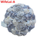 Silver Ivory Bridal Stitch Brooch Bouquets Ramos de novia Artificial Flowers Crystal Ornament Bride Wedding Bouquet Custom W228
