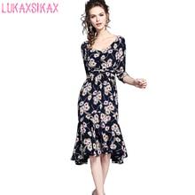 2017 New Women Summer Holiday Dress Sweet Flowers Printed Runway Dress Elegant Chiffon Floral V Neck