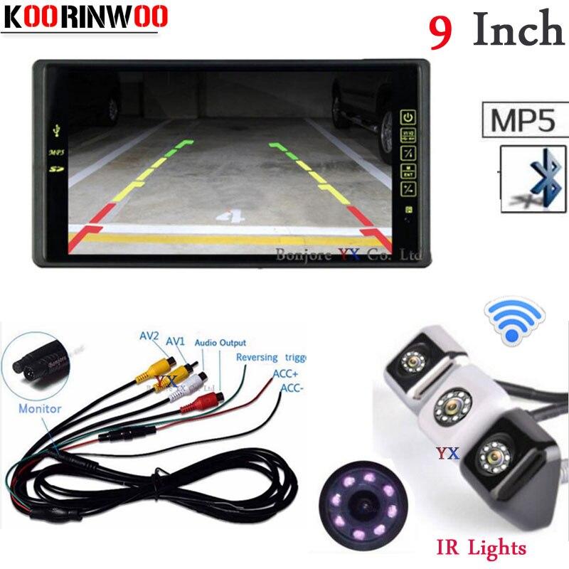 Koorinwoo Wireless Auto 9 Monitor Screen Video Bluetooth MP5 MP4 FM Car Rear view Camera Waterproof Reversing Parking For car 12v parking rgb reversing video camera for vw tiguan a4 a6 q5 rns510 rcd510 5nd 827 566 c 5n0 827 566c 5nd827566c