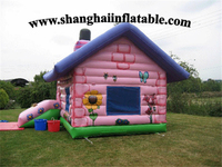 Factory Customized Big Pink Bounce House And Slide Combo Inflatable Amusement Park Playground
