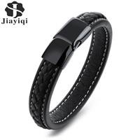 Jiayiqi New Fashion Braid Black Leather Bracelet Stainless Steel Clasp Bracelets Bangles Vintage Punk Men Jewelry