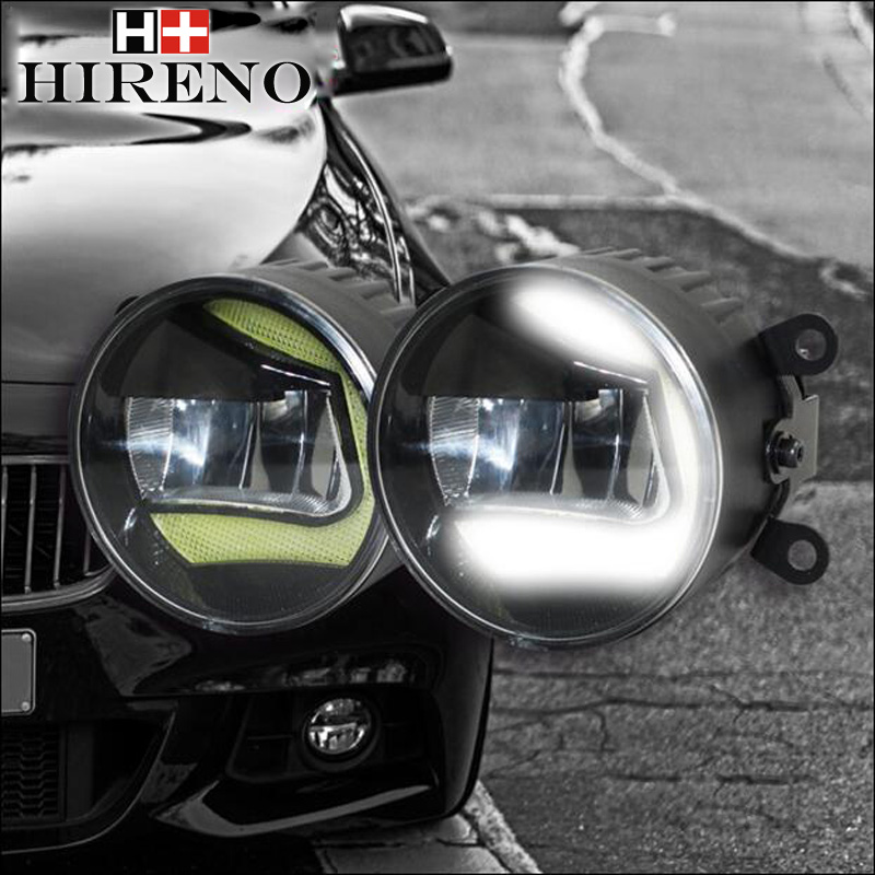 High Power Highlighted Car DRL lens Fog lamps LED daytime running light For Mitsubishi Outlander 2007 2008 2009 ~2015 2PCS cawanerl 2 x car light led drl daytime running light fog lamp 12v high power for mitsubishi outlander 2 ii cw w 2006 2009