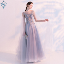 Ameision 2019 New Female Elegant sexy Banquet Evening Dresses O-neck Lace Flower Mesh Fairy Long Dress evening gown