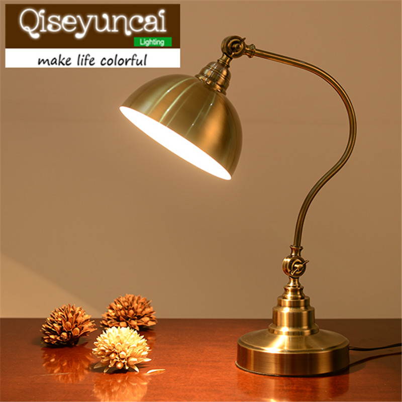 Qiseyuncai European style rural decoration dimming retro eye protection remote control desk lamp bedroom study lighting north european style retro minimalist modern industrial wood desk lamp bedroom study desk lamp bedside lamp