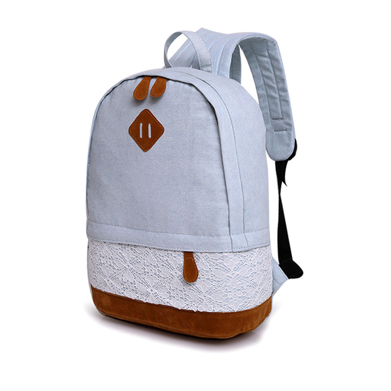 New Fashion Women Floral Flax Casual Canvas Backpack Ladies Girls  Lace Printing Student Teenager School bag Travel Back pack