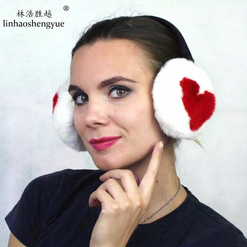 Linhaoshengyue 2017 Fashion Winter Warm 100%Rex Rabbit  Fur Ear Cover Unisex