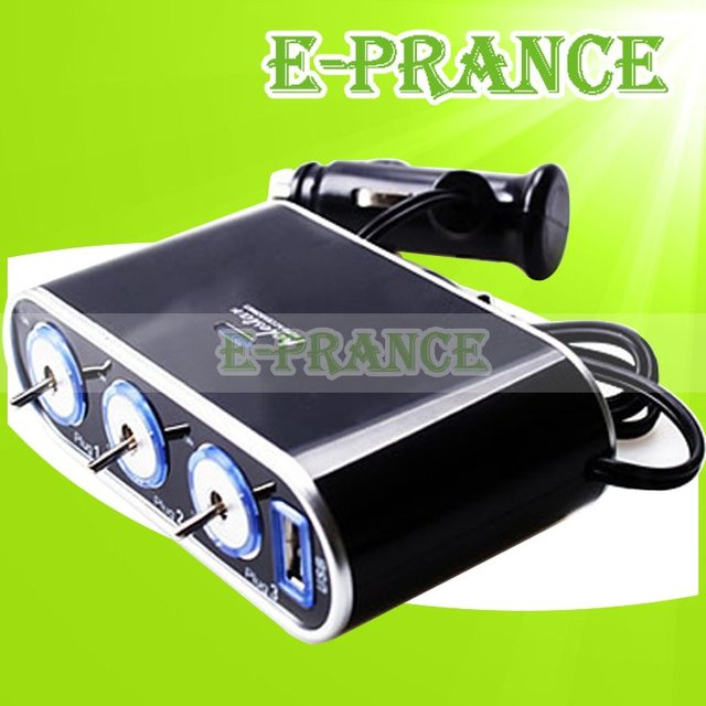 1 To 3 Car Charger Cigarette Lighter With USB&Triple 12V/24V Sockets Plug Car Power Adapter Free shipping