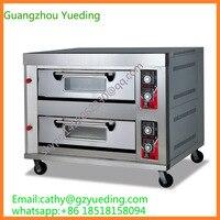 Коммерческая двухслойная четыре лотка печь для хлеба/пекарня используется газ/электрическая подовая печь/2 хлебопечка