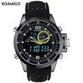 Los hombres relojes deportivos militar relojes de doble pantalla de reloj de cuarzo analógico led digital boamigo marca male 30 m relojes de pulsera a prueba de agua