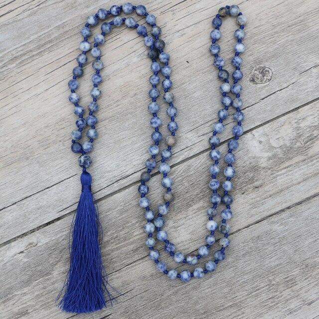 b3602a2b186b EDOTHALA Azul-Blanco piedra 6mm 8mm cuentas borlas collares largos para  mujer declaración Sodalite