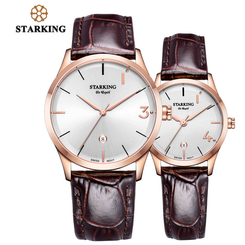 STARKING Lover's Watches Engraved Chinese Words Limited Edition Watch Sets Quartz Leather Couple Wrist Watch Men and Women Gift