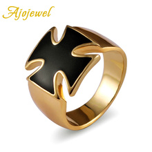 Size 8-10 Ajojewel Real 18K Gold Plated Enamel Black Cross Ring For Men/Women High Quality