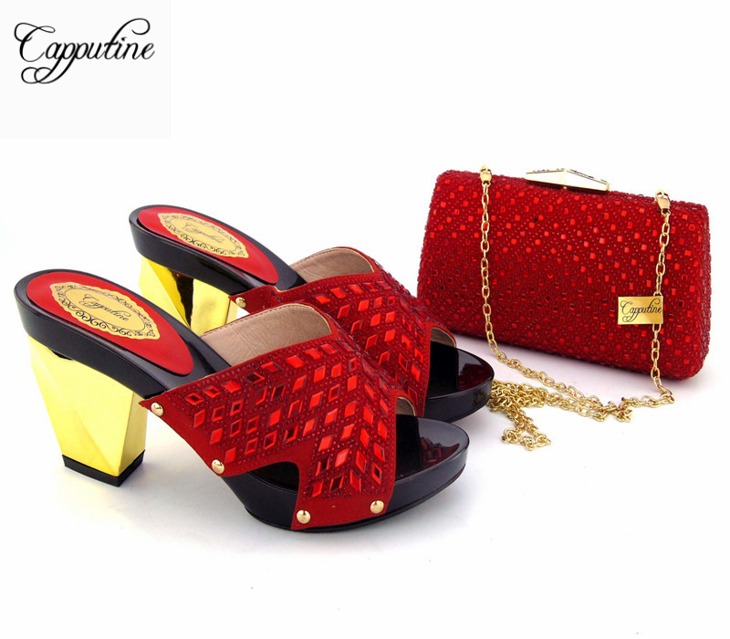 Capputine 2017 High Quality Red Color Shoes And Bag Set African Fashion Women High Heels Shoes And Bags Set For Woman Party