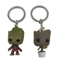 4pcs/set Keychain Toy Groot Anime Action Figure Potted Bobble Head Tree Man Kids Toys
