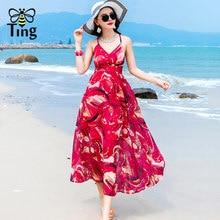 9c6d28377cdf Tingfly Women Summer Long Maxi Dress Sexy Strap V Neck Bandage Lace Up  Backless Boho Dresses Summer Beach Floral Print Vestidos