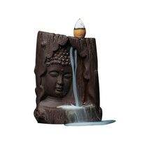 Queimador de incenso em cascata face de Buda