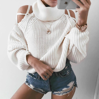 QUEVOON Off Shoulder Lace up Lantern Sleeve Solid Turtleneck Sweaters Loose Knitting Crop Pullover White Sweaters for Female
