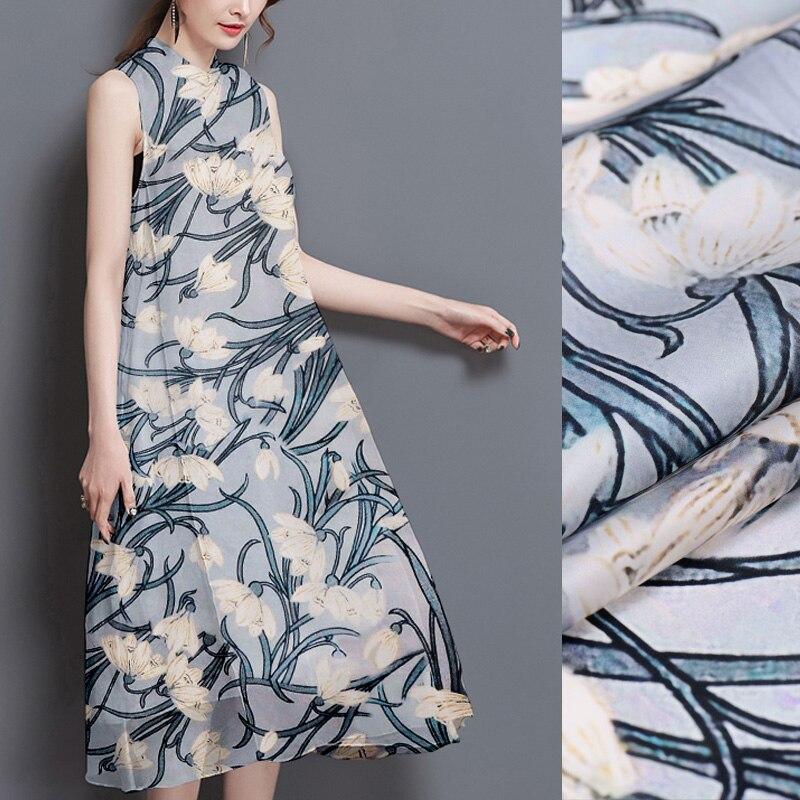 Gris bleu orchidée 12mm soie organza Satin impression numérique tissu de soie été jupe chemise bricolage vêtements tissu