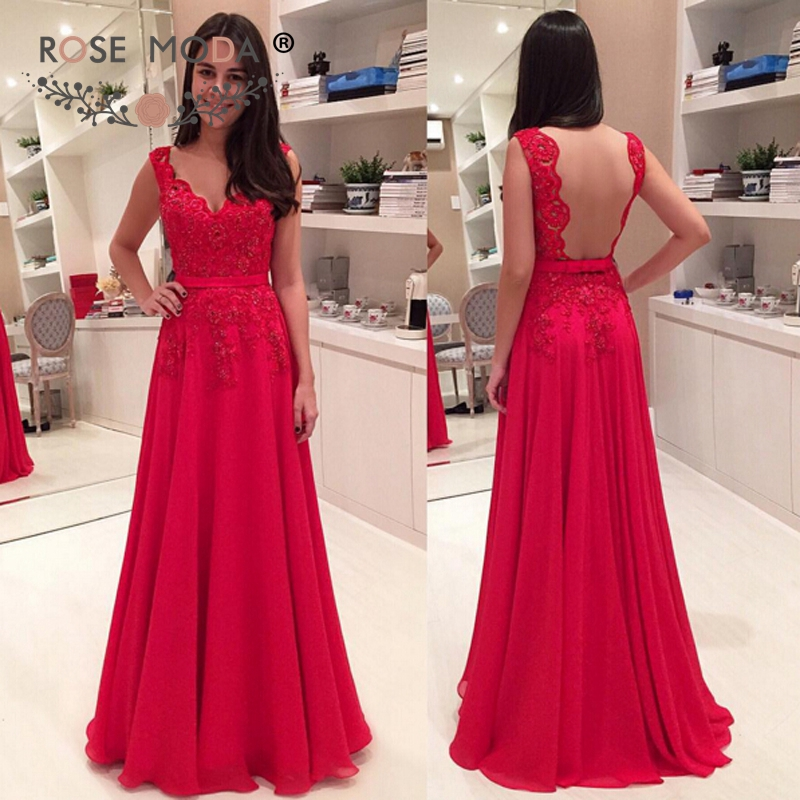 Sexy V Neck Red Chiffon Floor Length Evening Dress With Sheer Lace