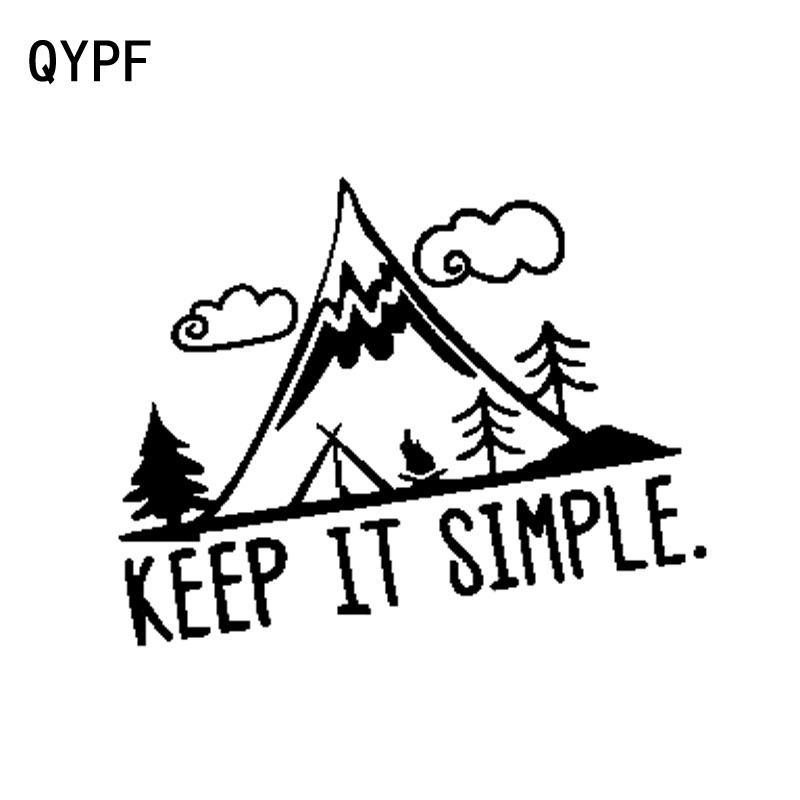 QYPF 16.3cm*12.4cm Interesting Camping In Mountain Keep It Simple Vinyl Car Sticker Vivid Window Decal Black/Silver C18-0259