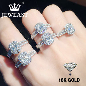 Image 2 - Natural Diamond 18K Gold Pure Gold Ring AU 750 Gold Solid Gold Rings Upscale Trendy Classic Party Fine Jewelry Hot Sell New 2020