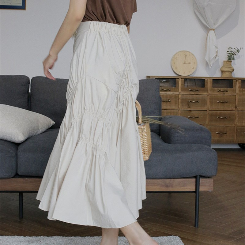 Women High Waist Asymmetrical Pleated Skirt Casual 2019 New Solid Empire A Line Mid Summer Skirt