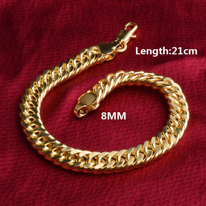 New Round Link Chain Yellow Gold Color Bracelet Jewelry Top Quality Wholesale Luxury Punk Accessories for Men Women