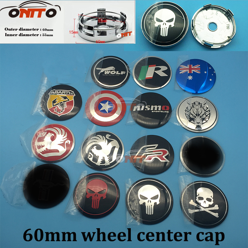 20pcs/set Wheel Center Hub Caps Emblem Badge Stickers for FR Skull Wolf logo Car Wheel Center Cap Cover Car Accessories