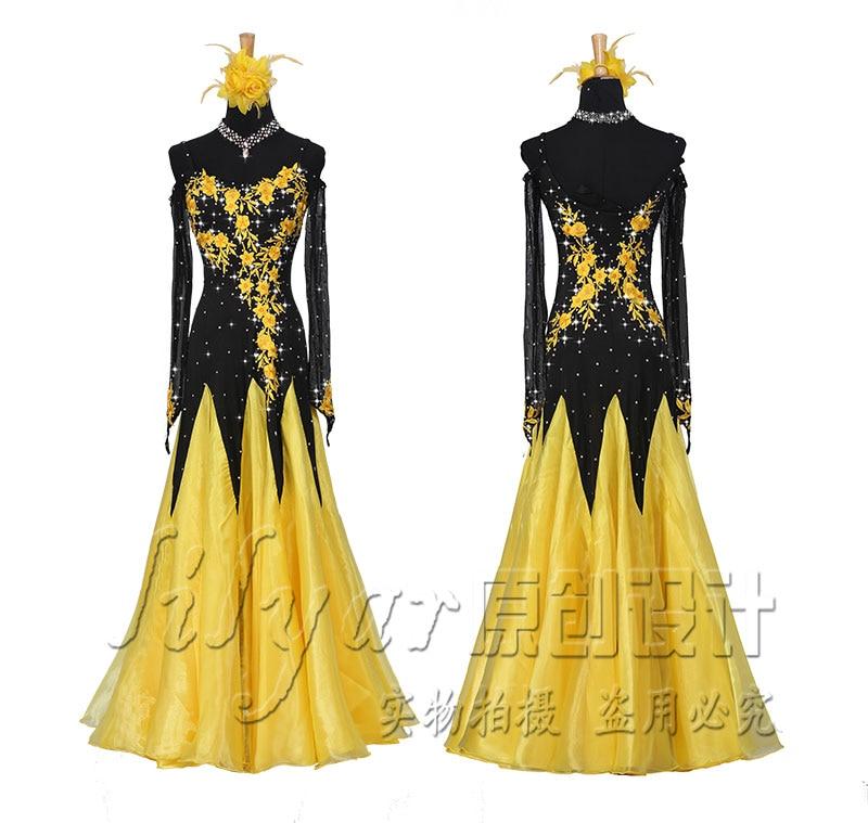 Modern skirt show dress dress dress social skirt black thin yellow embroidered diamond