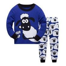 Купить с кэшбэком New 2019 Brand Cartoon Kid Pyjamas Autumn& Winter Boys Dinosaur Pajamas Set Children Pyjamas christmas Kids Cloth Set