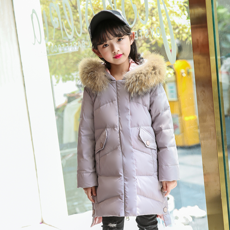 XYF8008 Girl Winter White Duck Down Coat Child Big Fur Collar Keep Warm Thick Hooded kids Jacket Long Outerwear Boys Windbreaker