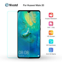 Nicotd cristal templado 2.5D 9H Premium para Huawei Mate 20, Protector de pantalla de 6,53 pulgadas, película protectora endurecida para Huawei Mate 20