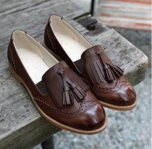 Flats British Oxford Shoes for Women Leather Brogues Women Oxfords with Tassels Platform Fringe Flats Shoes Woman casual Shoes