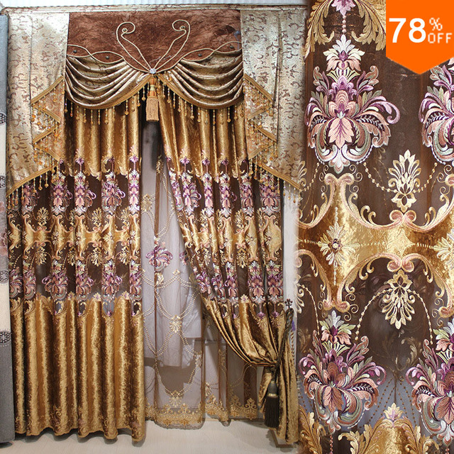 Golden Brown Coffee color Drape Drapry Luxury classical fashion tman Most quality of luxury jacquard curtain finished products