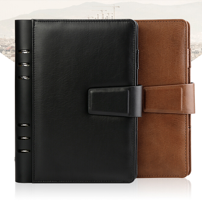 Logo Customize Notebook Genuine Leather Writing Pads Spiral Diary A5 Travelers Journal Office Binder Magnet Button Planner a5 logo genuine leather notebook diary spiral loose leaf binder office travelers mini writing pads notepad with rings notebooks