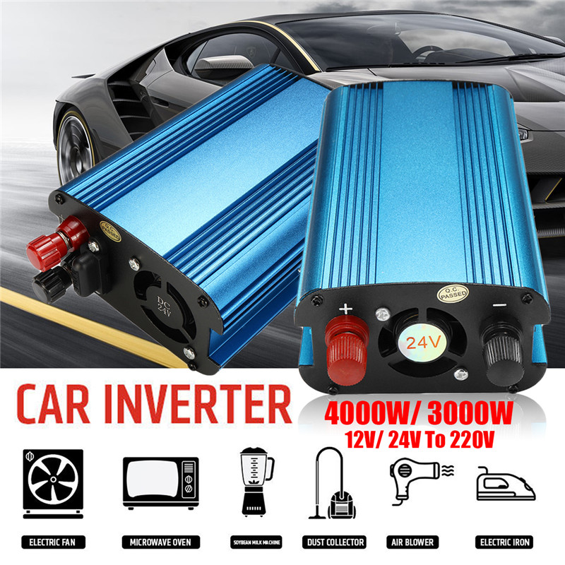Transformador de voltaje pico 3000 W/4000 W DC 12/24 V a AC 220 V Car LED Solar inversor de onda sinusoidal convertidor USB sobrecarga protección