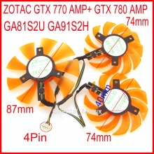 Free Shipping 3pcs/lot APISTEK GA91S2H GA81S2U 12V 4Wire 4Pin For ZOTAC GTX 770 AMP+ GTX 780 AMP Graphics Card Cooling Fan